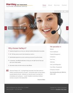 #webdesign concept for telephone answering service company, Hartley & Associates | by Sonomarin Web Design