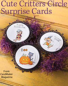 Cute Critters Circle Surprise Cards from the Autumn 2016 issue of CardMaker Magazine. Order a digital copy here: https://www.anniescatalog.com/detail.html?prod_id=132520
