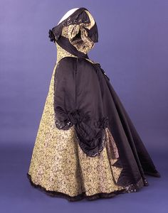 """Frances Cleveland wore this silk evening gown with fur-edged hem and black-satin-and-jet trim during her husband's second administration. It was made by Baltimore dressmaker Lottie Barton.  Learn more about the """"First Ladies at the Smithsonian"""" by visiting the exhibition online or in person."""