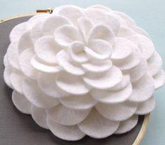 White Felt Flower Wall Art by DashingEtc on Etsy