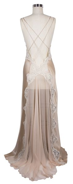 The back of the Jane Woolrich Lace Nightgown features a sheer train!  Seduction scene.