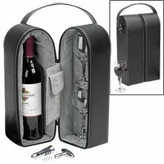 Gourmand Wine Carrier w/Glasses & Tools . $69.70