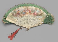 Bouquet fan of printed and painted scenes on paper leaf Date: ca. 1855.
