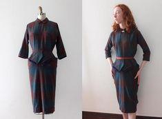 7e45127b0d0b abito vintage anni 1950     50s abito in lana tartan Abiti Vintage Degli  Anni 50
