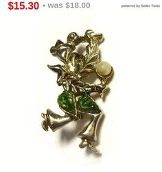 SALE Flamenco dancer brooch pin with maracas and faux pearl and green rhinestones in a light gold tone setting
