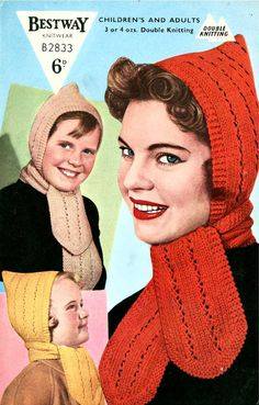 Pixie Hood with Attached Scarf Bestway - vintage knitting pattern PDF by SubversiveFemme Knitting Terms, Beginner Knitting Patterns, Baby Knitting, Crochet Patterns, Knit Crochet, Crochet Hats, Hand Knit Scarf, Textiles, Knitting Accessories