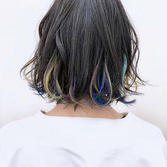 黄色 紫 青 緑の カラフルインナーカラー|電髪倶楽部street所属・後藤菜々のヘアカタログ|好みのスタイルやデザインを見つけたら即予約!「なりたい自分」を叶えてくれる美容師を探せます! Thick Curly Hair, Curly Hair Styles, Underdye Hair, Pink Streaks, Super Hair, Hair Designs, Hair Beauty, Beauty Care, Hair Inspo
