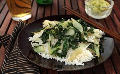A simple bok choy recipe for a healthy vegetable side dish.You will need garlic, ginger, red pepper flakes, and toasted sesame oil.
