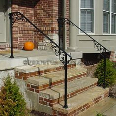 wrought iron  railing for front steps, cast iron elements