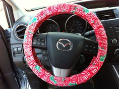 Steering Wheel Cover made with Lilly Pulitzer fabric on Etsy, $20.00