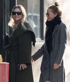 Olsen Anonymous Fashion Blog Mary Kate Ashley Olsen Twins Style Oversized Green Wrap Coat Black Scarf Texture Grey Coat Smiles