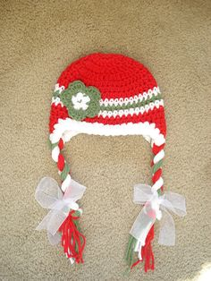Christmas Earflap Hat  Crochet Christmas Hat Newborn to Toddler sizing  Photography prop. $20.00, via Etsy.