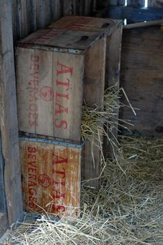 Chicken nesting boxes with old crates, although old wooden crates like these are antiques now and pricey!
