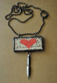 Hand soldered, paper heart, vintage pen nib, great gift for writers, editors, authors...