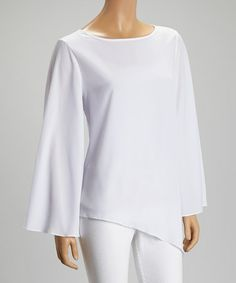 This White Sheer Asymmetrical Hem Top is perfect! #zulilyfinds