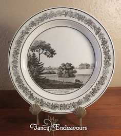 Antique Creil French Creamware Plate of English Scene Melton Constable Hall #Creil