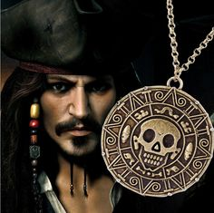 Pirates of the Caribbean Necklace Jack Sparrow Aztec Coin Medallion