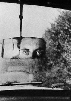 hotparade:   Ralph Gibson Eyes in Rear View Mirror (Self Portrait), 1962
