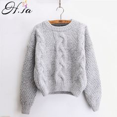 H.SA Women Sweaters Warm Pullover and Jumpers Crewneck Mohair Pullover Twist Pull Jumpers Autumn 2017 Knitted Sweaters Christmas  Price: 9.88 USD