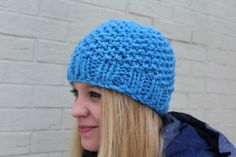 Bright Blue Chunky Knit Hat Chunky Knit by JeanieBeanHandKnits