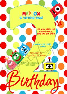 yo gabba gabba birthday party invitations | gabba friends | yo, Wedding invitations