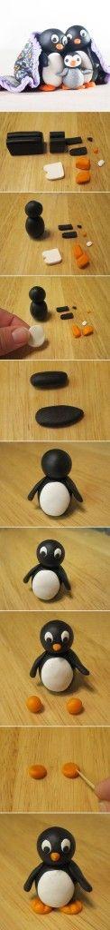 DIY Cute Polymer Clay Penguin