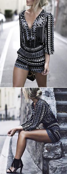 Sometimes you need a little structure in your wardrobe! Chic Geometric Print Lace-up Front Romper! Don't let it slip away before your eyes. Shop all new arrivals at OASAP. one of my favorite outfits Crochet Romper, Crochet Lace, Looks Street Style, Looks Style, Mode Outfits, Casual Outfits, Party Outfits, Classy Outfits, Look Fashion