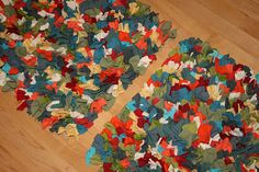"Cool method (see original tutorial) for a rag rug using scrap t shirts - but use 3"" squares (like in the rug) instead of rectangles (like in the pillow)."