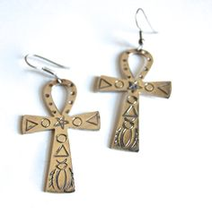 Taxco Sterling Ankh Looped Cross Earrings Vintage Art Deco Jewelry Ancient Egyptian Stylized Tribal Geometric Hieroglyphics c1940s