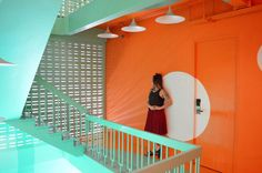 Check out some warm weather street styles, alongside a beautiful and hip interior in Bangkok, Thailand! Modern and fresh colours are the perfect backdrop. Bangkok Thailand, Warm Weather, Street Styles, Backdrops, Fair Grounds, Stairs, Colours, Fresh, Check