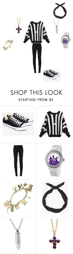 """Early arrival"" by reaper18 ❤ liked on Polyvore featuring Converse, Balmain, Disney, Boohoo and Palm Beach Jewelry"