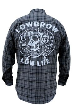 "Low Life Charcoal Flannel by Lowbrow Art Company. Lowbrow Art Company mens charcoal and black flannel "" Low Life"" by artist Adi. Screen print on back with Company logo on front left chest pocket. Goth Clothing Stores, Gothic Hoodies, Gothic Jackets, Steady Clothing, Punk Dress, Rocker Outfit, Vegan Clothing, Mens Flannel Shirt, Gothic Outfits"