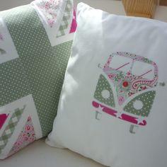 Campervan Cushion Pink & Green £30