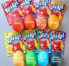 Here's a cute idea! If you like to dye eggs with the kids, instead of buying those dying kits, use kool-aid. One pack of Kool-aid and 2/3 cups water and you've got awesome egg dye. Two bonuses: it's cheaper than those boxes of egg dye and it smells great!!  *Side note: if you use the lemonade flavor, mix it with a little bit of orange to get a better yellow color, otherwise it's too light.*