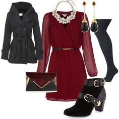 """""""winter wedding guest"""" by ashdia on Polyvore - I love the rich red of the dress with the defined waist and soft silhouette - SM"""