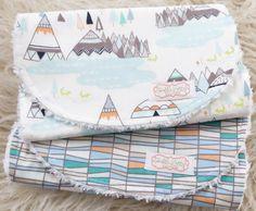 Baby Boy Burp Cloth Set - Indian Summer Burp Cloths - Woodland Burp Cloths - Tribal Burp Cloths