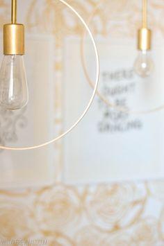 DIY Wood and Brass Hanging Hoop Pendant Lights
