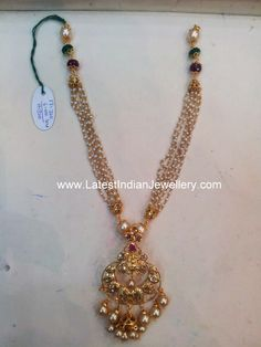 Fancy Beaded Chain with Bali Design Pendant - Latest Indian Jewellery Designs Pearl Necklace Designs, Gold Earrings Designs, Gold Jewellery Design, Bead Jewellery, Beaded Jewelry, Pearl Jewelry, India Jewelry, Bridal Jewelry, Jewelery