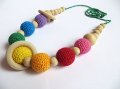SALE Rainbow nursing necklace with rings ready to ship Babywearing rainbow necklace Crochet teething necklace Baby teether Mommy necklace