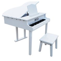 Schoenhut's exquisite, small replica of a full-sized concert grand is a great choice for a child with serious musical aspirations. Its hinged top, when open, enhances the piano's lovely chime-like tones, the sound that makes Schoenhut toy pianos charming and unique. The lid is designed to raise and lower gradually, so as not to slam down on little fingers. Three full octaves provide a good foundation for the transition to an 88-key piano. Enjoyed by adults as well as children!