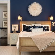 From rich navy to soft gray, these are the colors /theexchange/ says will be trending in home design during decor blue bedroom Bedroom Paint Color Trends for 2017 Navy Blue Bedrooms, Blue Bedroom Decor, Indigo Bedroom, Diy Bedroom, Trendy Bedroom, Bedroom Neutral, Indigo Walls, Modern Bedroom, Master Bedrooms
