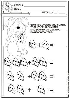 Matemática Infantil: Atividade de Adição Ratinho com Queijo Numbers Preschool, Preschool Books, Free Preschool, Grade R Worksheets, Counting Activities, Pre Writing, Home Schooling, Math Lessons, Kids Education