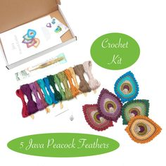 Crochet Kit for 5 Java Peacock Feathers
