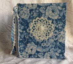 Handmade Shabby Chic Junk Journal with Handmade Parchment Paper in Blue and White on http://www.trehanstreasures.com/