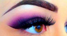 I love purple shadows on light brown/brown eyes! beautiful!