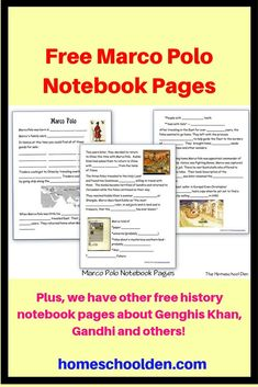 Free Marco Polo History Notebook Pages This post has some free notebook pages a. - Free Marco Polo History Notebook Pages This post has some free notebook pages about Marco Polo as - Beautiful Feet Books, Free Notebook, Homeschool Curriculum, Homeschooling, Marco Polo, Teaching Social Studies, Hands On Activities, Kids Education, Lesson Plans