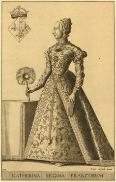 Portrait of Catherine de' Medici, Queen of Henri II, full-length, turned to left, wearing lavish dress adorned with pearls and jewels, a glove half-slipped on her left hand, her right hand holding a feathered fan resting on a table; in the upper left corn