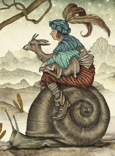 A squire and a goat ride a giant snail in this fairy tale book illustration by Julian de Narvaez