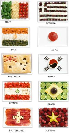Flags of the country - Italy, German,India,Vietnam, Kore,Japan, Lebanon, Brazil, Australia and Switzerland  created using the most common food in that country.