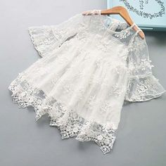 Girls Summer Dress Lace Petal Sleeves Princess Dress Kids Beach Dresses Girls Clothing Party Casual Wear Kids Dresses For Girls, Ropa de niña, Lace Summer Dresses, Girls Lace Dress, Wedding Dresses For Girls, Toddler Girl Dresses, Girls Dresses, Beach Dresses, Dress Lace, Baby Girl Dresses Fancy, Baby Girls